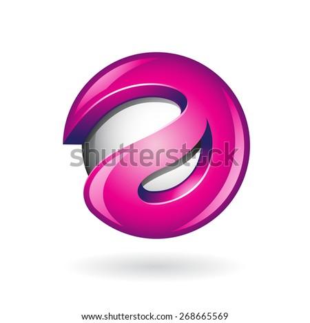Round Glossy Letter A 3d Magenta Logo Shape Vector Illustration - stock vector