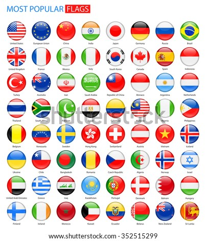 Round Glossy Most Popular Flags - Vector Collection Vector Set of National Flag Icons  - stock vector