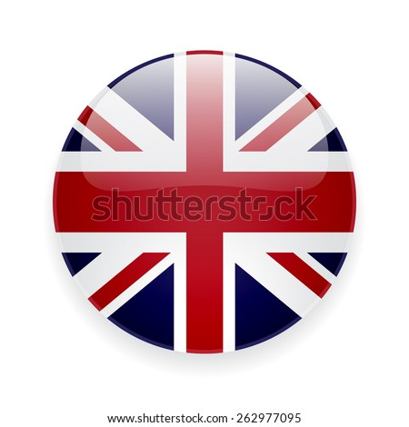 Round glossy vector icon with national flag of the UK on white background - stock vector