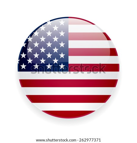 Round glossy vector icon with national flag of the USA on white background - stock vector