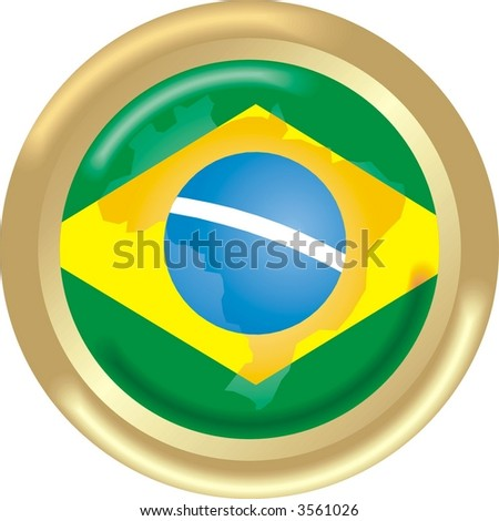 round gold medal with map and flag from Brazil - stock vector
