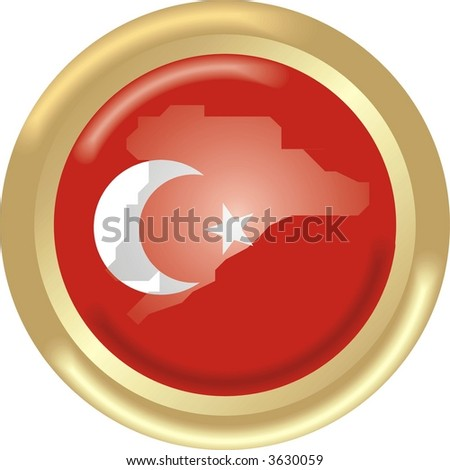 round gold medal with map and flag from turkey - stock vector