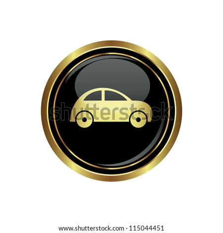 Round golden button with car icon. Vector illustration - stock vector