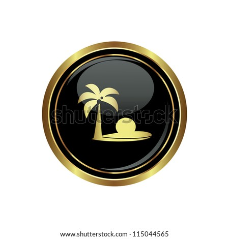 Round golden button with tropical beach and palm tree icon. Vector - stock vector