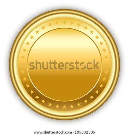 Round golden vector medal with stars and shadow. - stock vector