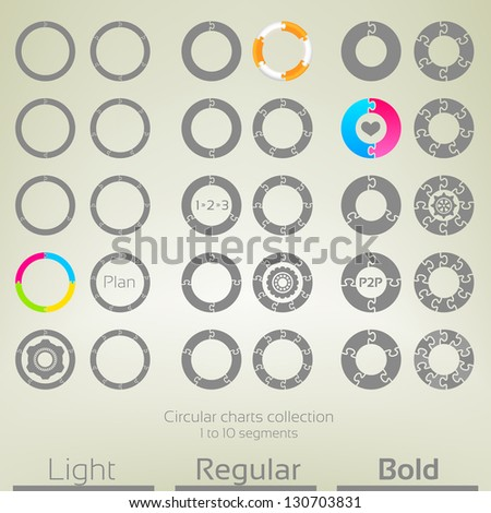 Round graph circular charts, set of thirty design templates, from one to ten puzzle shaped segments in three variations of thickness - stock vector