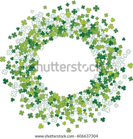 Round Green Frame Border Or Background Of Random Scatter Clover Leaves Elegant St