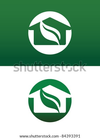 Round Green House Vector Both Solid and Reversed for Ecology, Recycling, Company, Service or Product. - stock vector