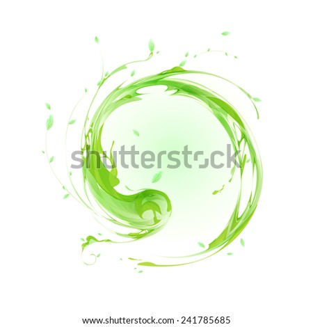 round green plant elements vector  - stock vector