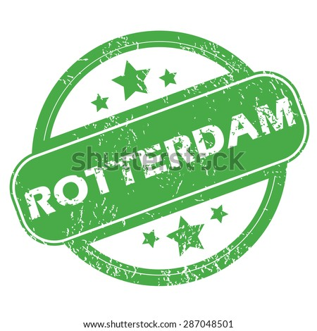 Round green rubber stamp with name Rotterdam and stars, isolated on white - stock vector