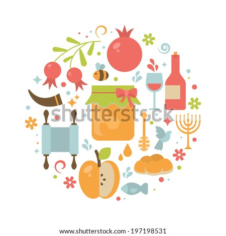 Round greeting card with icons for Jewish New Year Holiday Rosh Hashahah - stock vector