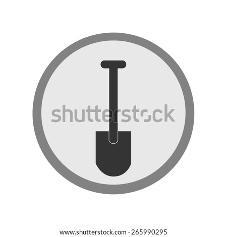 Round grey shovel icon vector isolated, digging icon, flat icon - stock vector