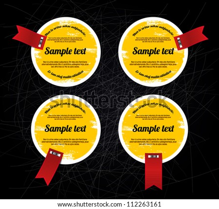 Round grungy vintage vector labels / banners / stickers with worn out paint texture and red ribbon tags over black scratched background, yellow
