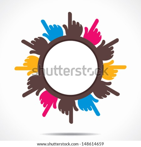 round hand pointed finger design background vector - stock vector
