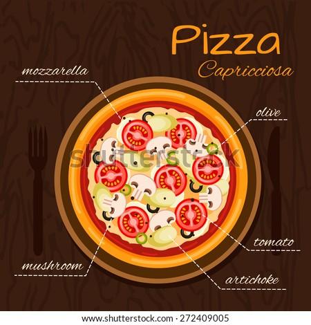 Round hot delicious tasty Capricciosa pizza in flat style. Vector illustration of pizza with mozzarella, olive, tomato, mushroom, artichoke.  - stock vector