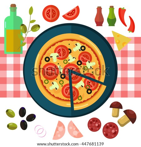 Round hot delicious tasty italian pizza in flat style on white background. Vector illustration. - stock vector