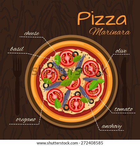 Round hot delicious tasty Marinara pizza in flat style. Vector illustration of pizza with cheese, olive, tomato, oregano, anchovy, basil.  - stock vector