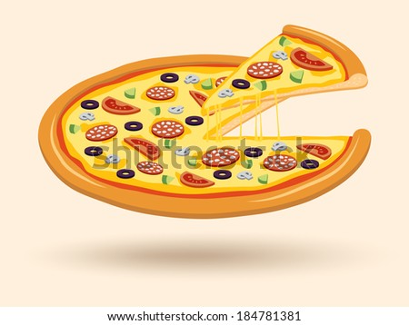 Round hot delicious tasty meat cheese olive tomato mushroom pizza with cut slice emblem vector illustration - stock vector