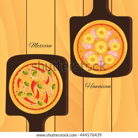 Round hot delicious tasty pizza in flat style. Vector illustration of  Mexican, Hawaiian - stock vector