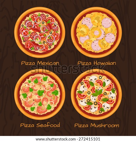 Round hot delicious tasty pizza in flat style. Vector illustration of pizza Mexican, Hawaiian, Seafood, Mushroom. - stock vector