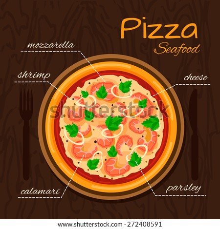 Round hot delicious tasty Seafood pizza in flat style. Vector illustration of pizza with mozzarella, cheese, shrimp, calamari, parsley. - stock vector