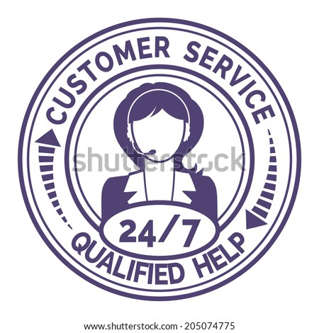 Round icon for non stop customer service with a professional female support operator providing through headset live qualified help and useful information  on white - stock vector