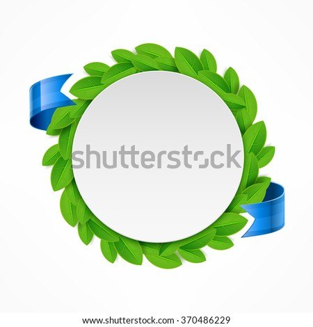 Round icon with green leaves and blue ribbon. Vector illustration - stock vector