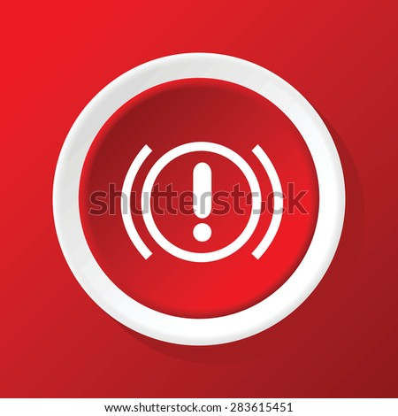 Round icon with image of alert sign, on red background - stock vector