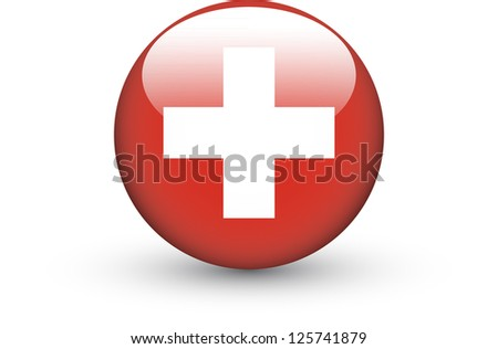 Round icon with national flag of Switzerland isolated on white background