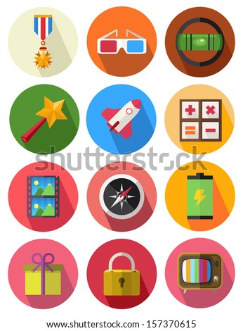 round icons set 11 - stock vector