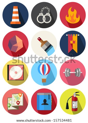 round icons set 19 - stock vector