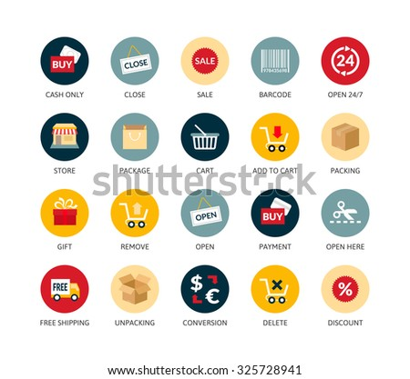 Round icons thin flat design, modern line stroke style, web and mobile design element, objects and vector illustration icons set 20 - sales and retail collection - stock vector