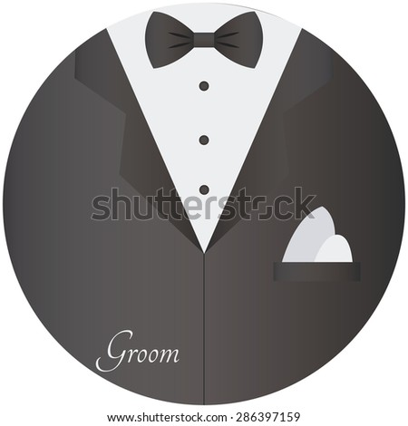 Round image with groom clothes for a wedding event. Vector illustration
