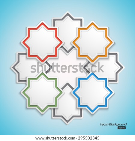 Round infographic shape of 3d octagon elements; using as sign; b - stock vector