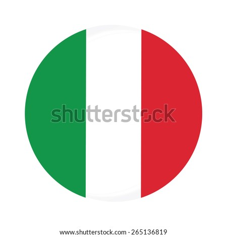 Round italy flag vector icon isolated, italy flag button - stock vector