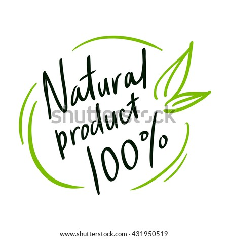 "Round label green stamp ""natural product"". - stock vector"