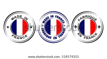 "Round label ""Made in France with flag"" and lily symbol Fleur-de-lis"