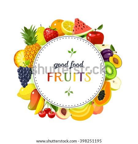 Round label with fruits: apple, strawberry, orange, plum, banana, watermelon, pineapple, papaya, cherry, mango and so. Design template/frame/banner. Vector illustration, isolated on white, eps 10. - stock vector