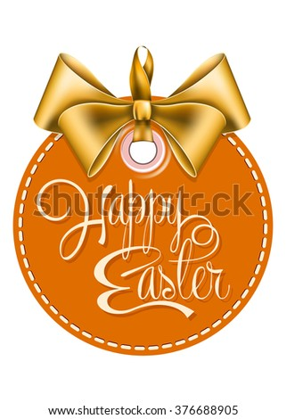 Round label with gold bow  - stock vector
