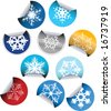 Round Labels badges and stickers with snowflakes - stock photo
