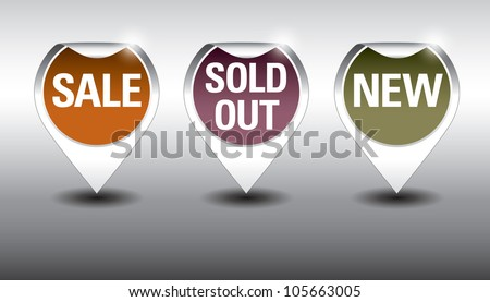 Round Labels or stickers for sale, new and sold out items. - stock vector