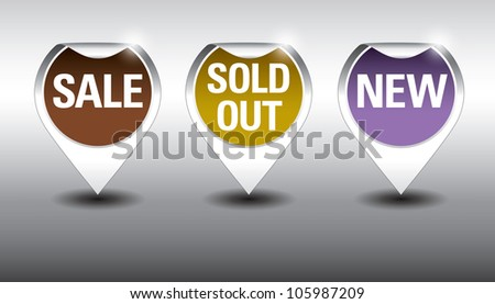 Round Labels or stickers for sale, new and sold out items. Eps10 Vector Format.. - stock vector
