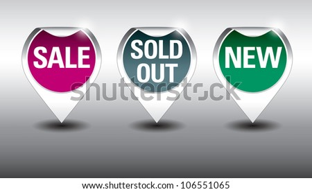 Round Labels or stickers for sale, new and sold out items. Eps10 Vector Format. - stock vector