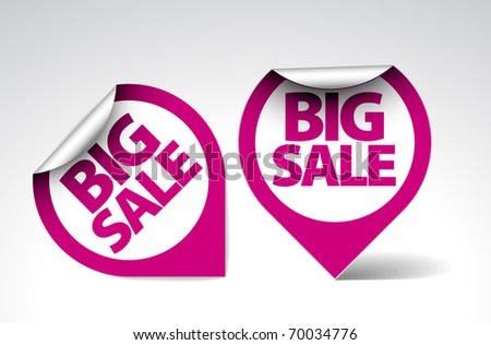 Round Labels / stickers for big sale - purple and white version - stock vector
