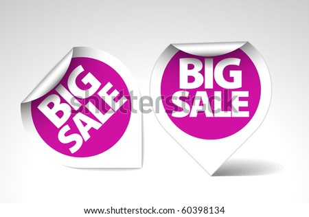 Round Labels / stickers for big sale - purple with white border - stock vector