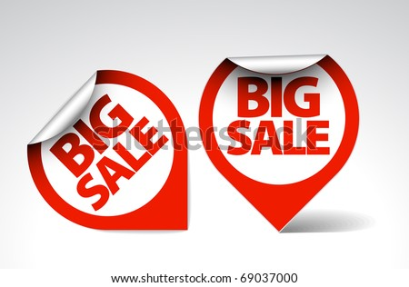 Round Labels / stickers for big sale - red and white version - stock vector