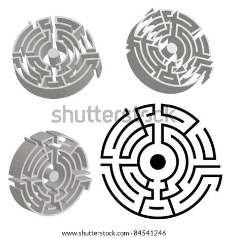 round labyrinth. 3d model of maze vector illustration - stock vector