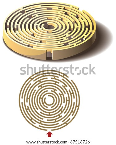 Round labyrinth, maze, isolated flat and three dimensional, vector illustration - stock vector