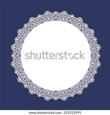 Round Lace Doily  - stock vector