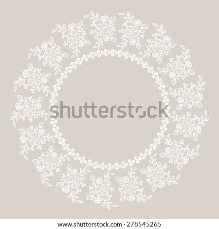 Round Lace / wedding lace / round lace / floral lace / ivory lace - stock vector